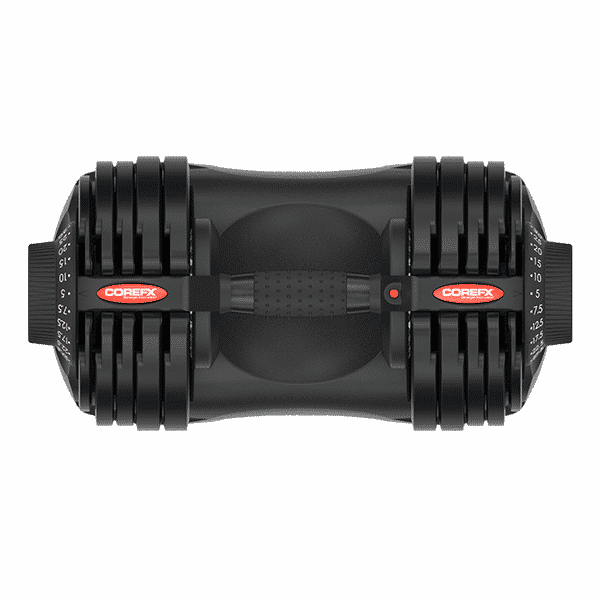top view of Corefx adjustable dumbbell