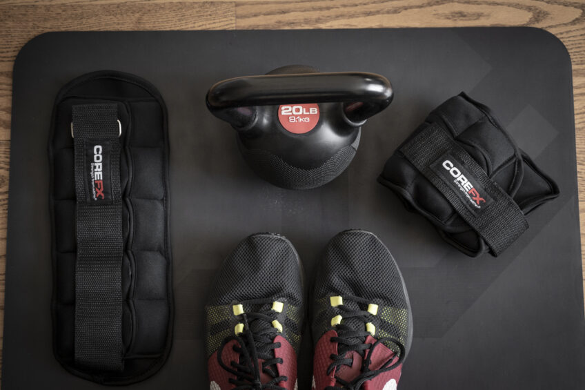 COREFX fitness products on a yoga mat